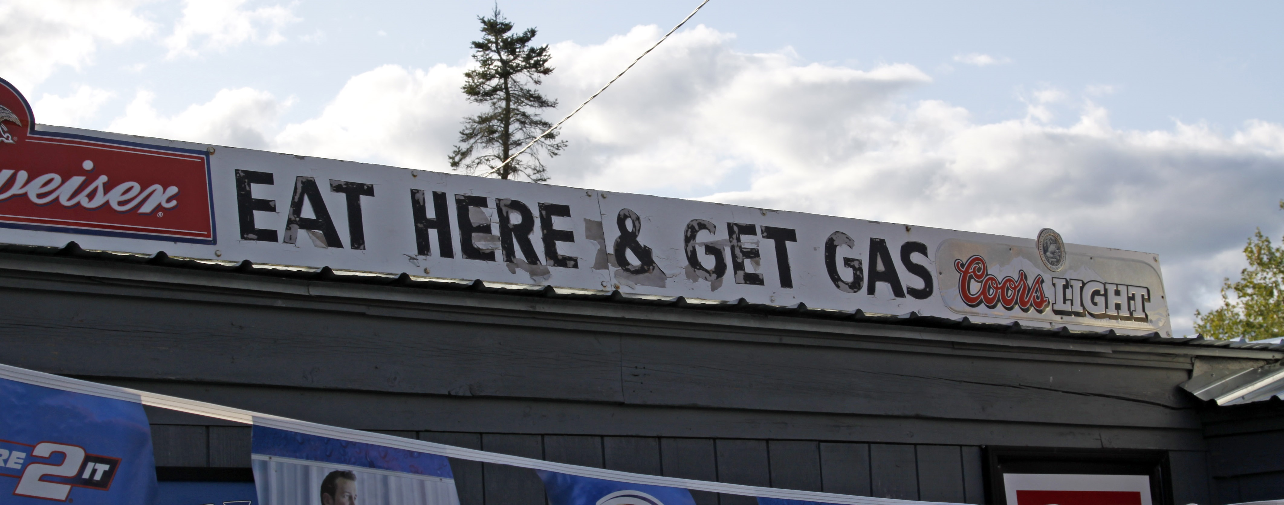 call-to-action: eat here and get gas