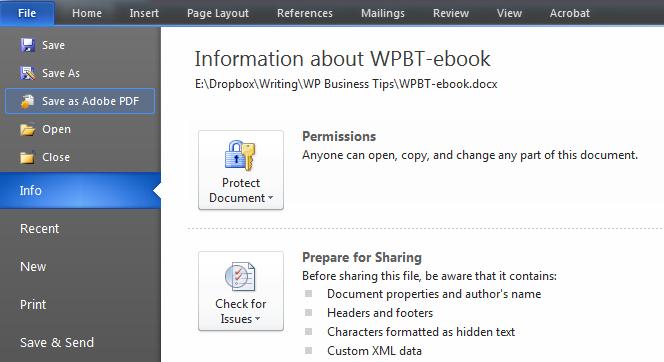 Creating an eBook Save as Adobe PDF