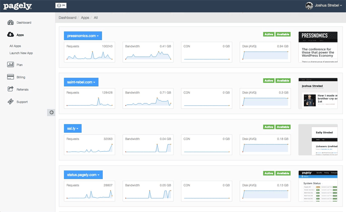 Pagely Dashboard